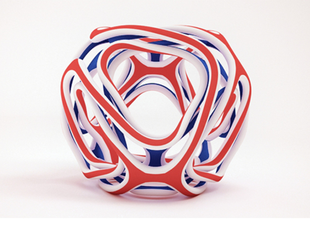 Twisted looped Octahedron in Glossy Full Color Sandstone