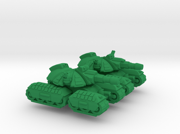 Mongol Heavy Tracked Armor - 3mm in Green Processed Versatile Plastic