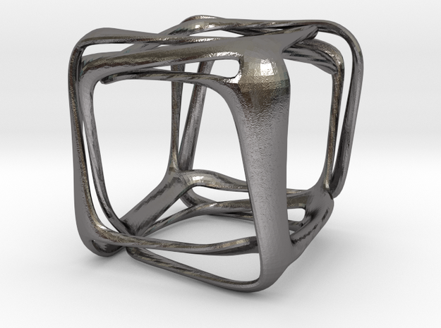 Twisted Looped Cube in Polished Nickel Steel