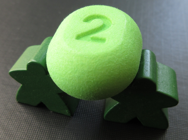 Two-sided dice in Green Processed Versatile Plastic