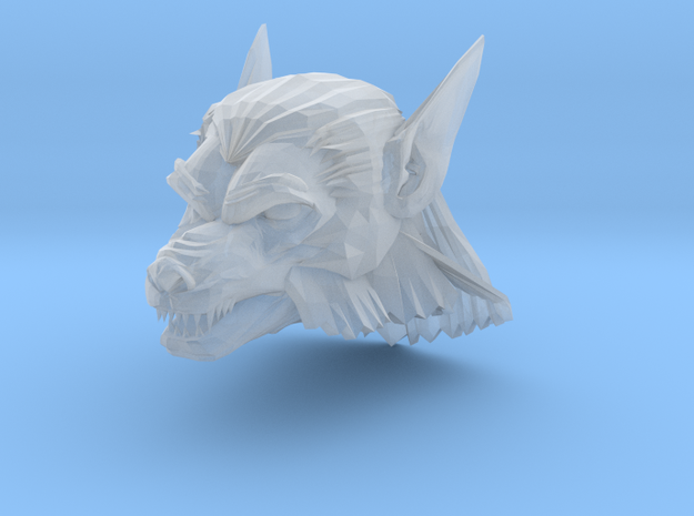 werewolf head 2 in Smooth Fine Detail Plastic