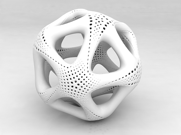 Perforated Twisted Icosahedron Type 1 in White Processed Versatile Plastic