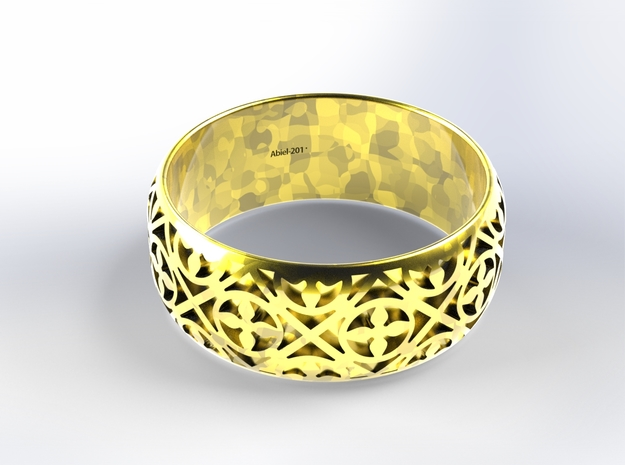 Habesha Gold Ring Size=17.9mm in 18k Gold Plated Brass: 7.75 / 55.875