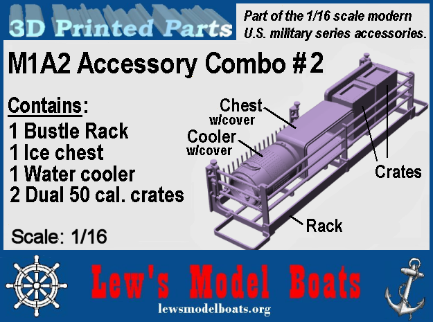M1A2 - Bustle rack, cooler, chest, ammo boxes 1/16 in Smooth Fine Detail Plastic: 1:16