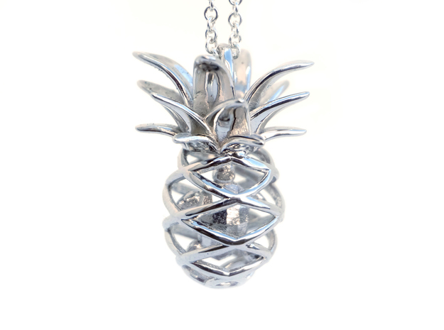 Pineapple Turtle Pendant in Rhodium Plated Brass