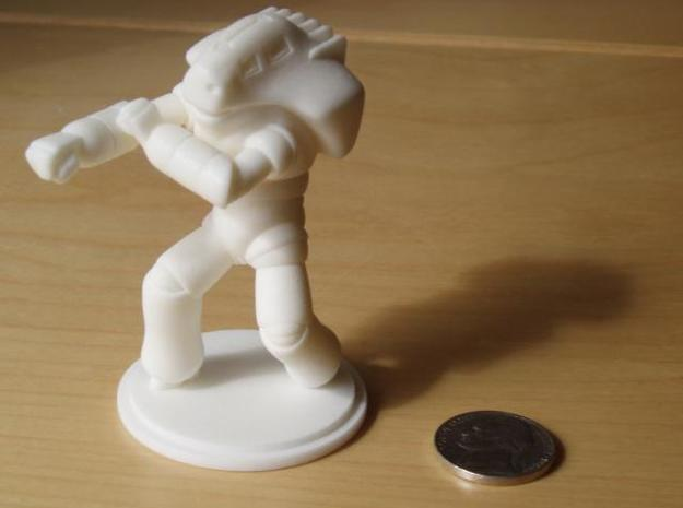 Combat Shell, 70mm, Flat Base 3d printed Printed in White, Strong, & Flexible Polished, pictured here with a nickel