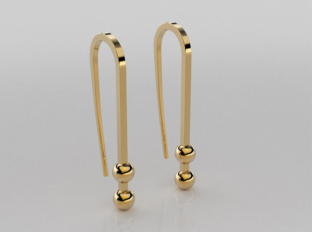 Long earrings with small balls in 14K Yellow Gold