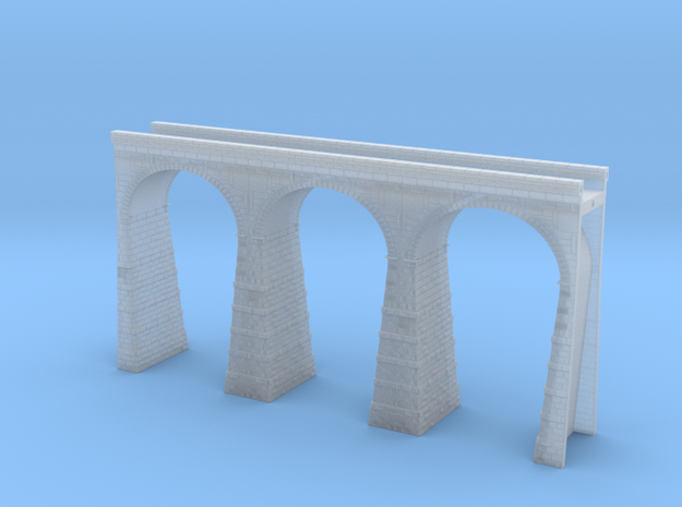 T-scale Stone Viaduct Section (3 Arches) - 135mm S in Smooth Fine Detail Plastic