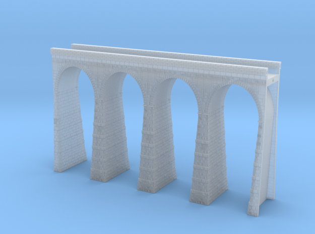 T-scale Stone Viaduct Section (4 Arches) - 120mm S in Smooth Fine Detail Plastic