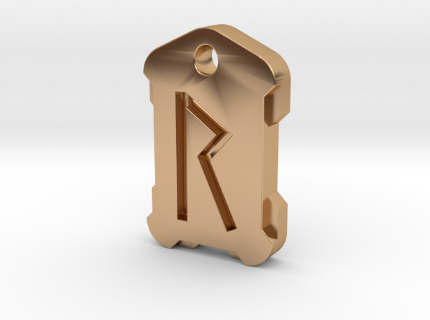 Nordic Rune Letter R in Polished Bronze