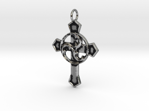 Gothic Triskell Cross Pendant in Antique Silver