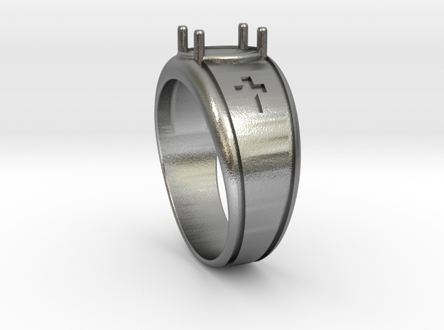 Cross Gents Ring in Natural Silver