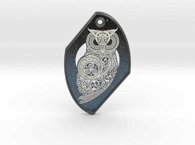 Celtic Owl Pendant in Glossy Full Color Sandstone