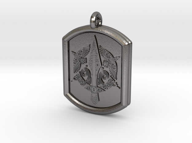 Celtic Triskelion Sword Pendant in Polished Nickel Steel