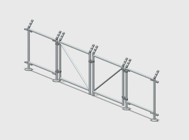 Chain-Link Security Fence 10' Double Gate, R/Latch in Smooth Fine Detail Plastic: 1:87 - HO