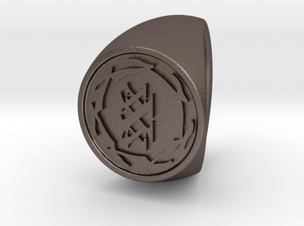 Custom Signet ring 84 in Polished Bronzed-Silver Steel
