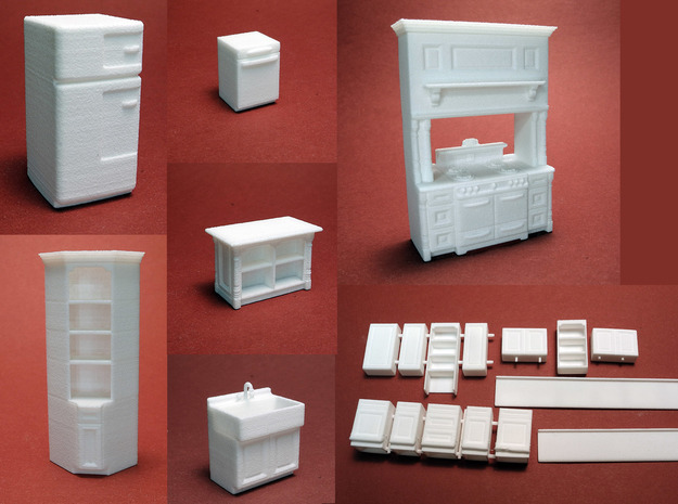 1:48 Vintage Farmhouse Kitchen in White Natural Versatile Plastic