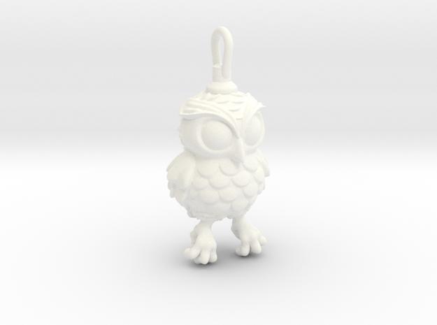 Small Owl pendant in White Processed Versatile Plastic