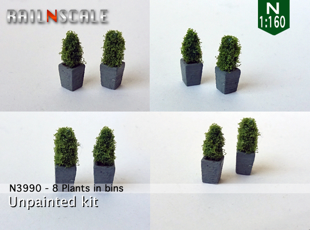 8 Plants in bins (N 1:160) in Smooth Fine Detail Plastic