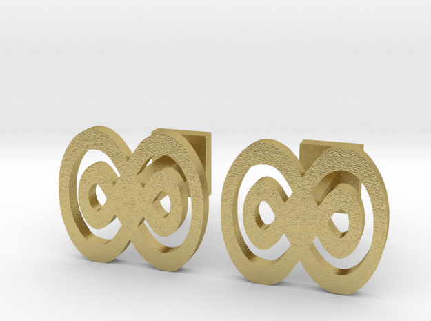 Infinity cufflinks in Natural Brass