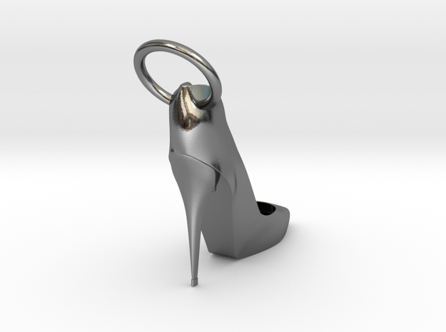 Left Foot Heel Earring in Polished Silver