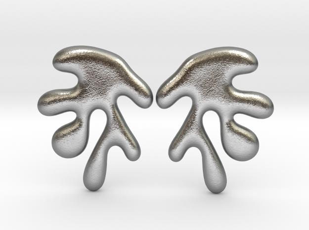 Leaf06S Earrings in Natural Silver