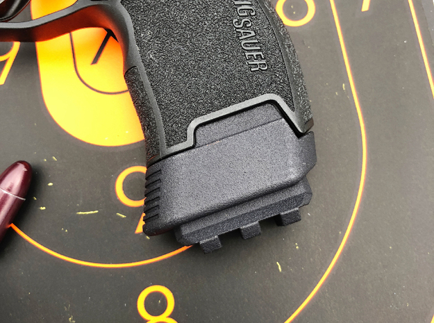 SIG P365 - Full Grip Base Pad w/Rail in Black Natural Versatile Plastic