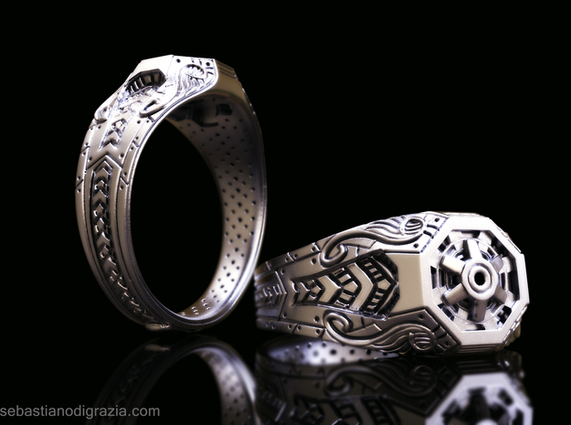 Steampunk Octagonal Ring in Antique Silver