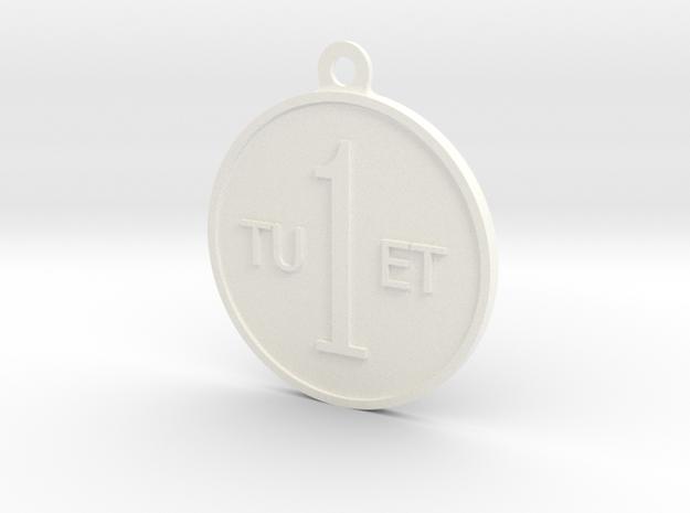 One Round Tuet Key Fob in White Processed Versatile Plastic