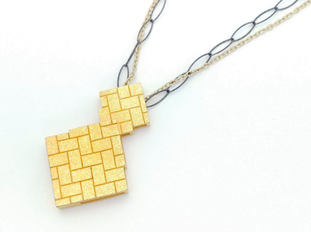Herringbone Pendant in Polished Gold Steel