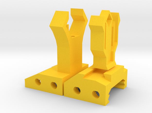 Insanity Front and Rear Iron Sights in Yellow Processed Versatile Plastic