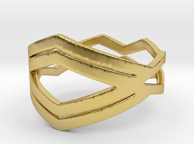 Chevron Ring  in Polished Brass: 6.5 / 52.75