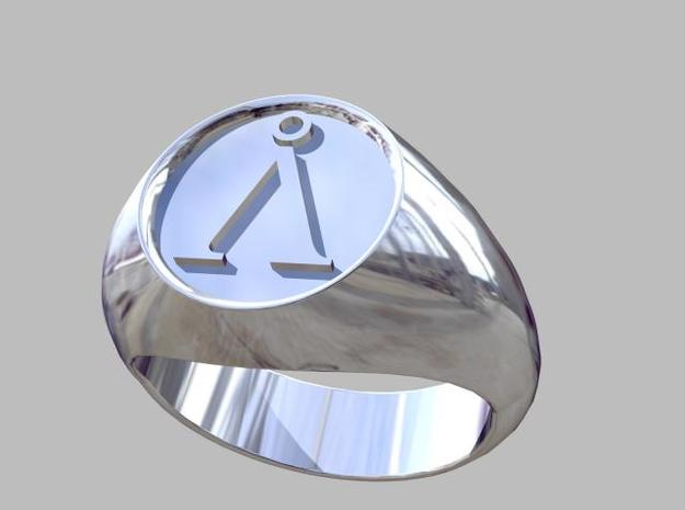 Stargate Earth symbol signet ring s 11 (20.93 mm) in Polished Silver