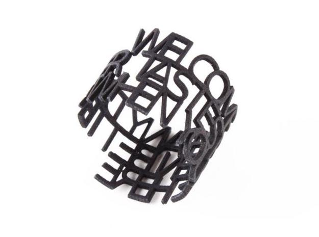 Message Napkin Ring in Black Strong & Flexible