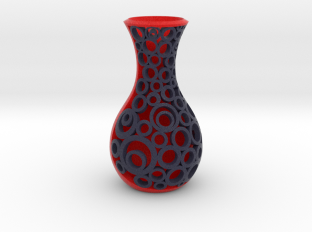 Full colour Small open circle patterned vase sculp