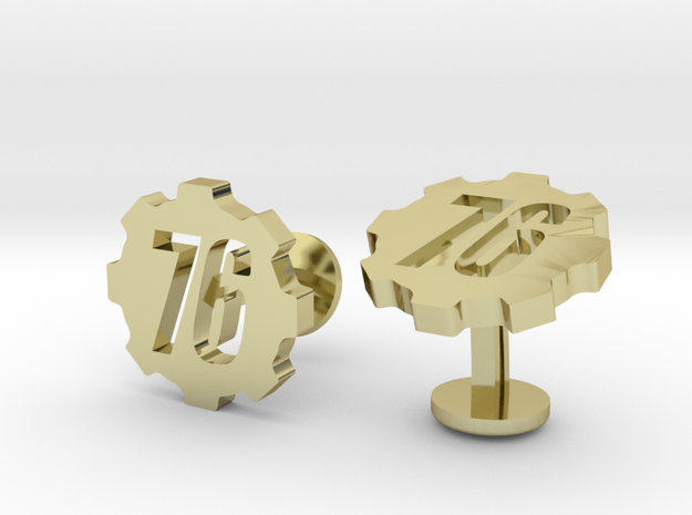 Fallout 76 Cufflinks in 18k Gold Plated Brass