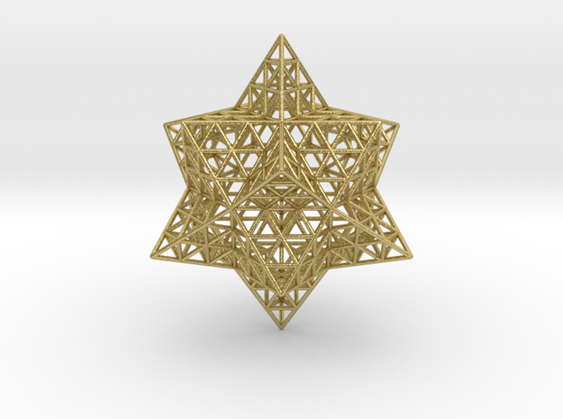 "Stellated Vector Equilibrium w/Triforce Faces 2.2"" in Natural Brass"
