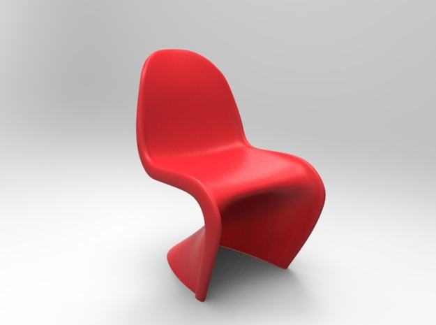 Panton Chair 5.5cm (2.2 inches) Height in Red Processed Versatile Plastic