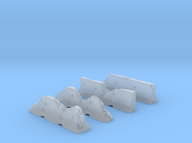 Jersey Barriers Set 4 pieces - damaged, 28mm scale in Smooth Fine Detail Plastic