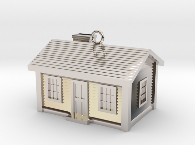 Little Cottage Charm (Pendant) in Rhodium Plated Brass