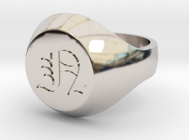 """Initial Ring """"N"""" in Rhodium Plated Brass"""