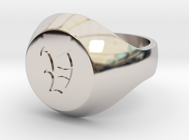"""Initial Ring """"V"""" in Rhodium Plated Brass"""