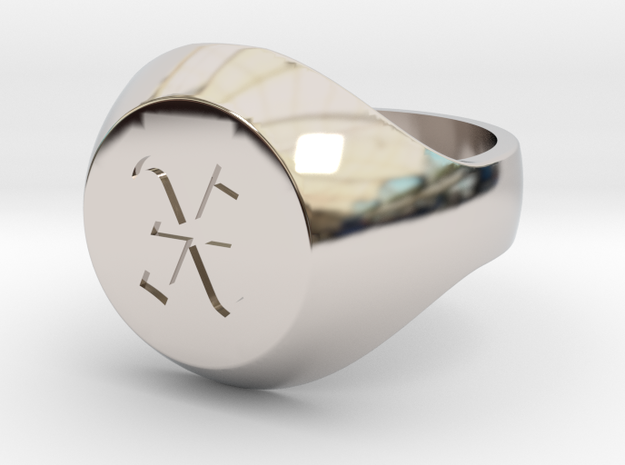 "Initial Ring ""X"" in Rhodium Plated Brass"