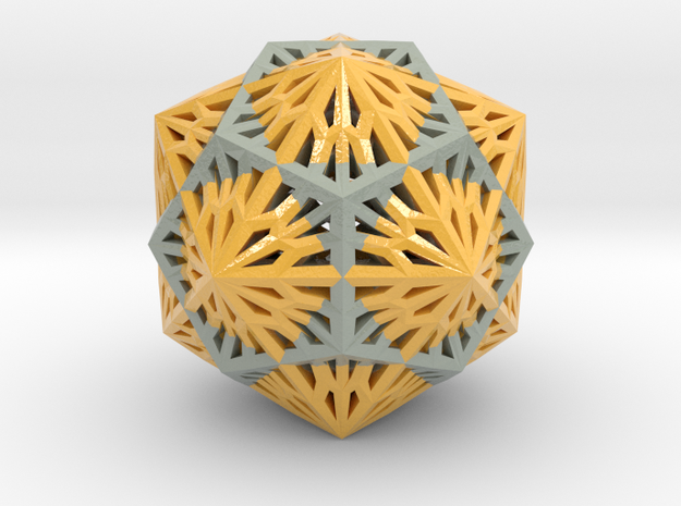 Icosahedron Dodecahedron Compound in Glossy Full Color Sandstone