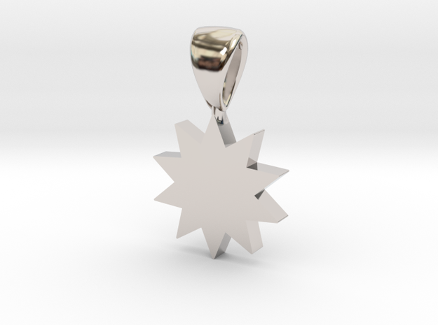 Power Star Pendant in Rhodium Plated Brass