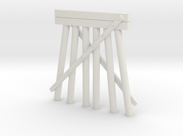 Part E Deck Trestle N (1:160) Modular Six Piles in White Natural Versatile Plastic