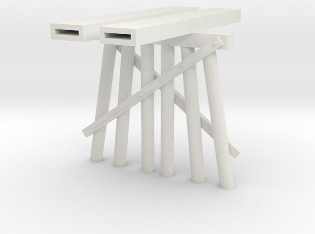 Part B Trestle N (1:160) Modular Six Piles in White Natural Versatile Plastic