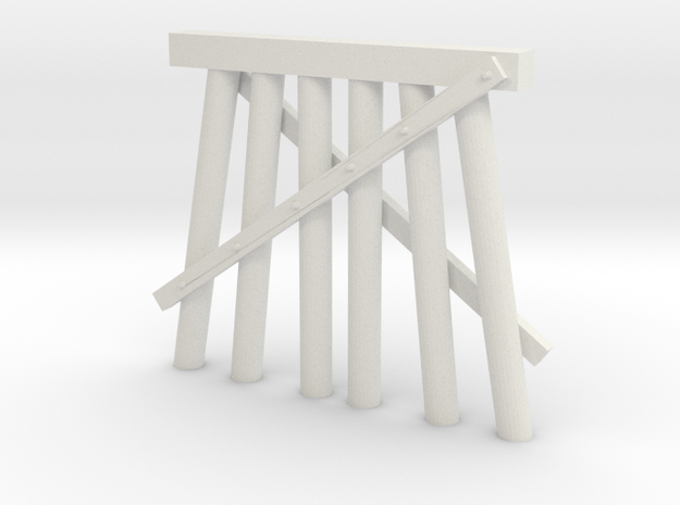 Part E Trestle N (1:160) Modular Six Piles in White Natural Versatile Plastic