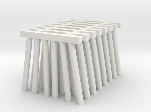 Short Piers for Trestle N (1:160) Six Piles 8x in White Natural Versatile Plastic