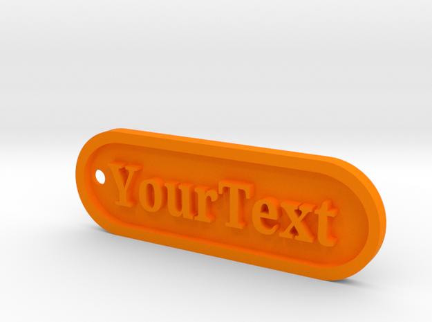Custom Text Tag Keychain II in Orange Processed Versatile Plastic